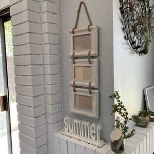 None Accents - Hanging Photo Picture Frame Set Whitewash Rope 4x6
